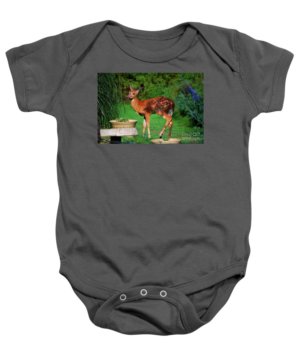 Fawn Baby Onesie featuring the photograph No I'm Not Bambi by Lori Tambakis
