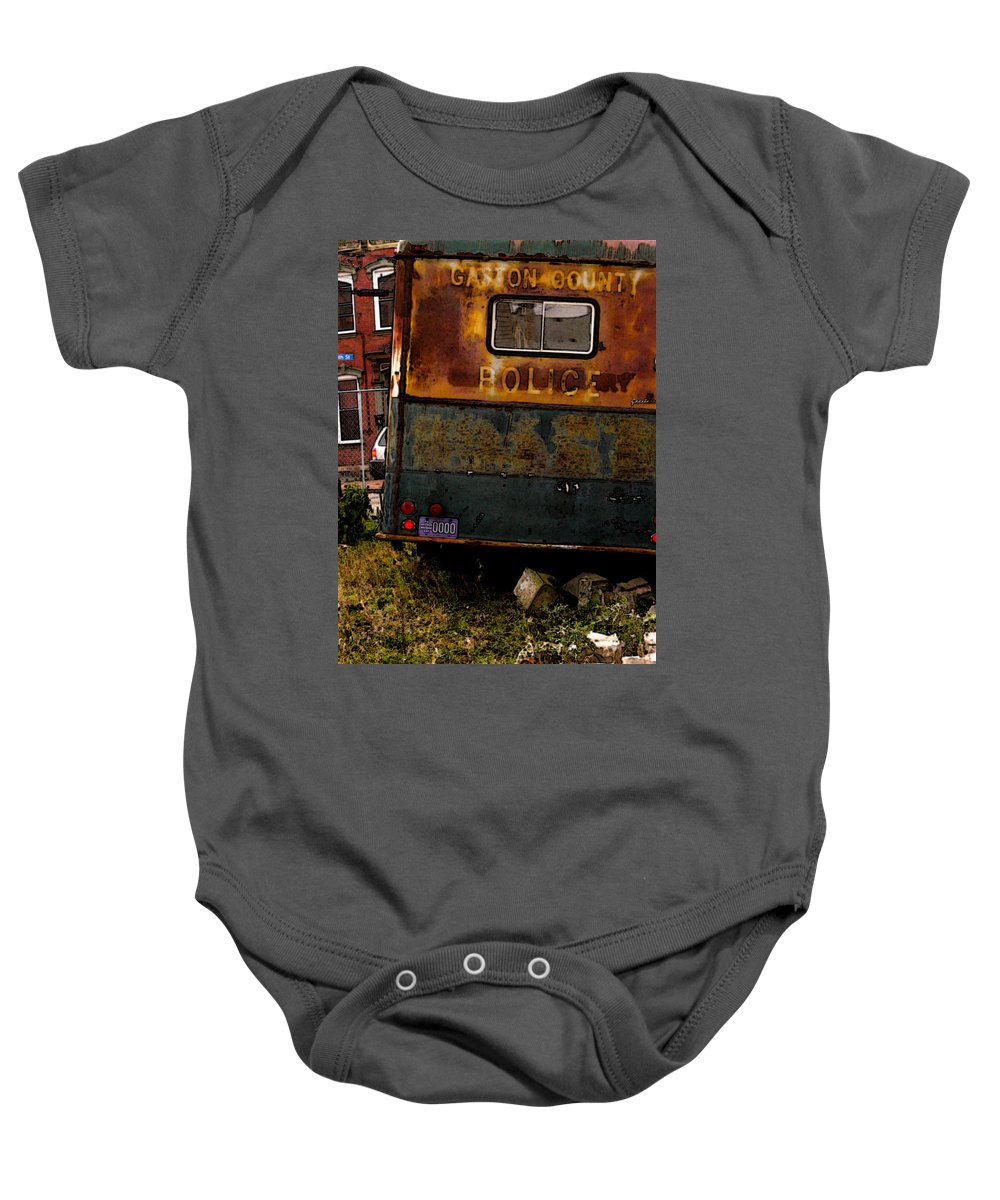Paddy Wagon Baby Onesie featuring the photograph No Need For The Black Maria by Jay Ressler