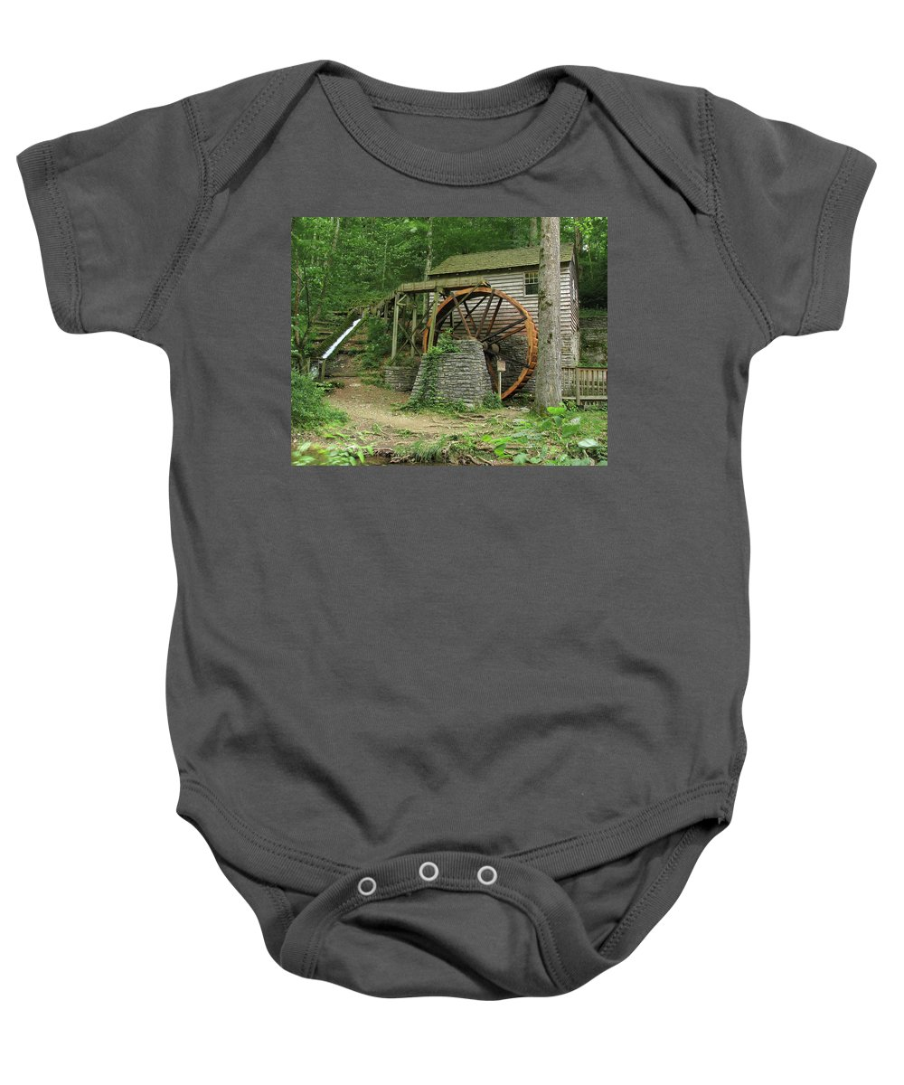 Grist Mill Baby Onesie featuring the photograph Rice Grist Mill II by Douglas Stucky