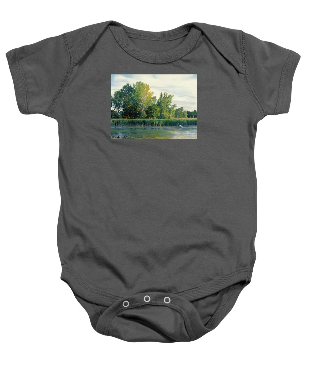 Great Egret Baby Onesie featuring the drawing North Of The Grade-great Egret by Bruce Morrison