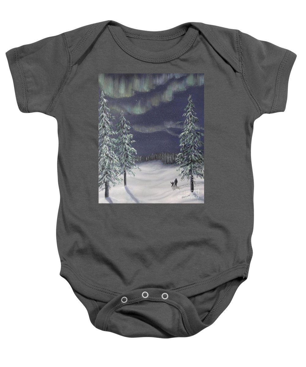 Landscape Baby Onesie featuring the painting Northern Lights 2 by J O Huppler