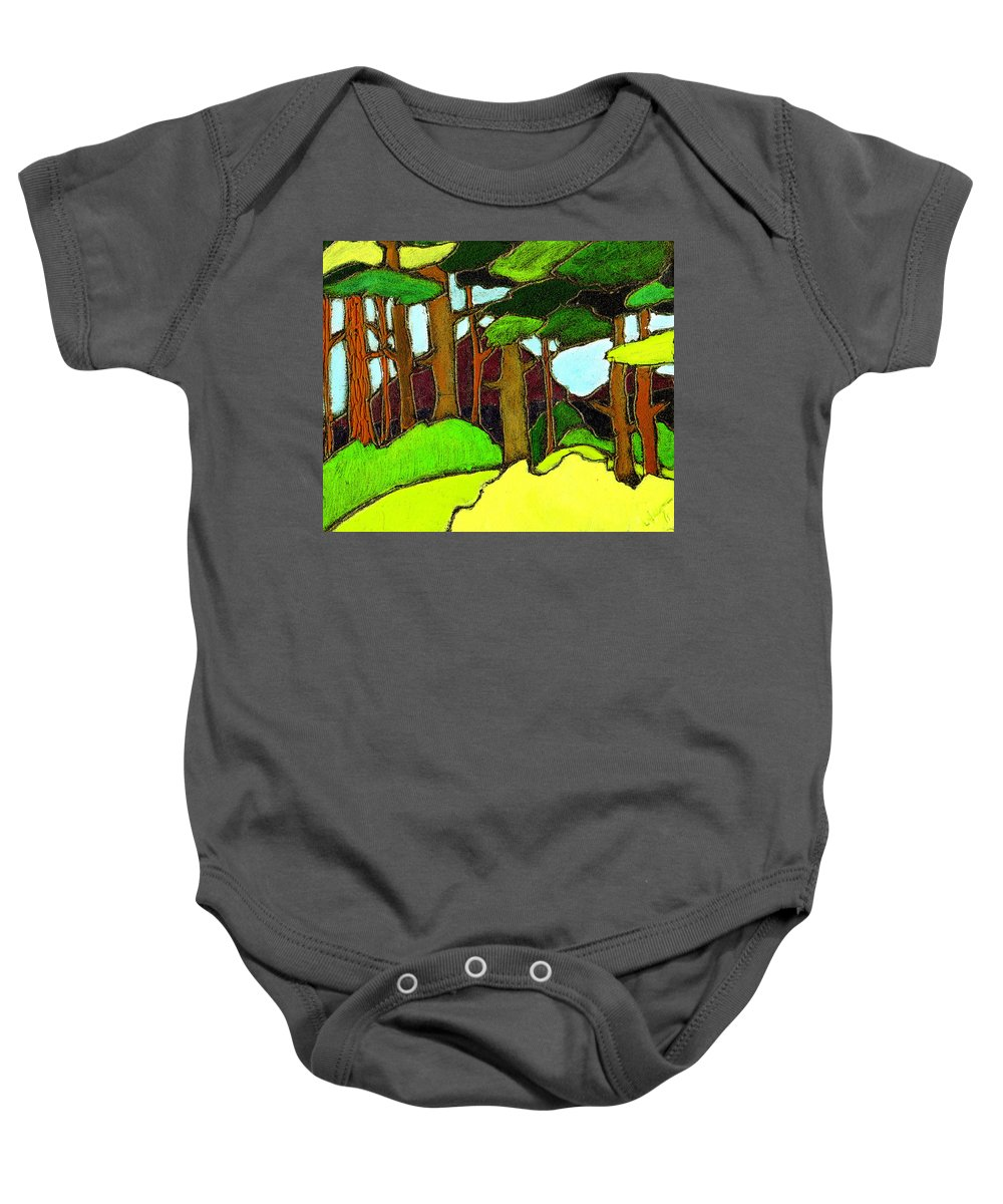 Trees Baby Onesie featuring the painting Northern Pathway by Wayne Potrafka