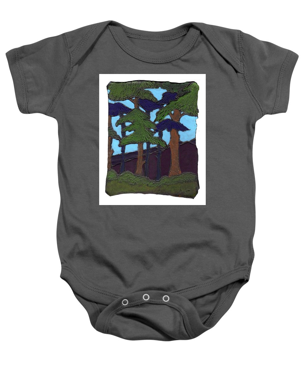 Tree Baby Onesie featuring the painting Northern Woods by Wayne Potrafka