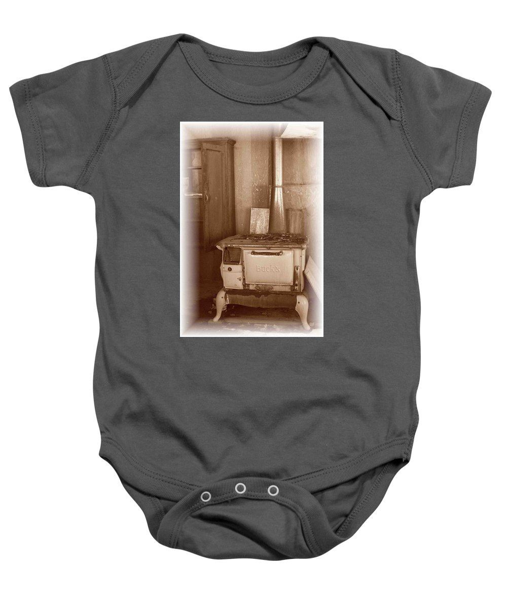 Stove Baby Onesie featuring the photograph Not Much Cookin - Unionville Nv by Nelson Strong