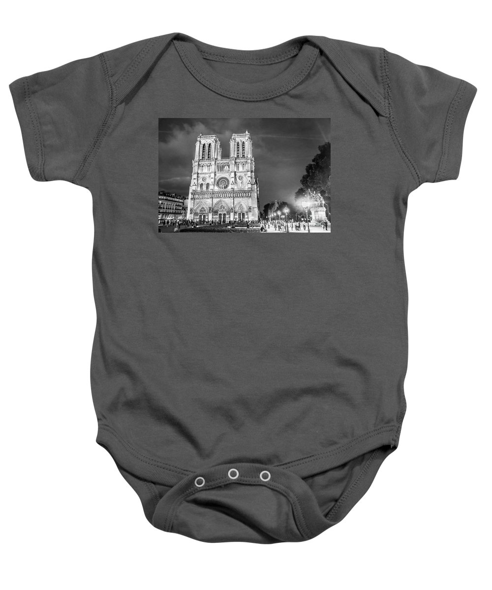 Notre Dame B/w Baby Onesie featuring the photograph Notre Dame B/w by Linda Arnado