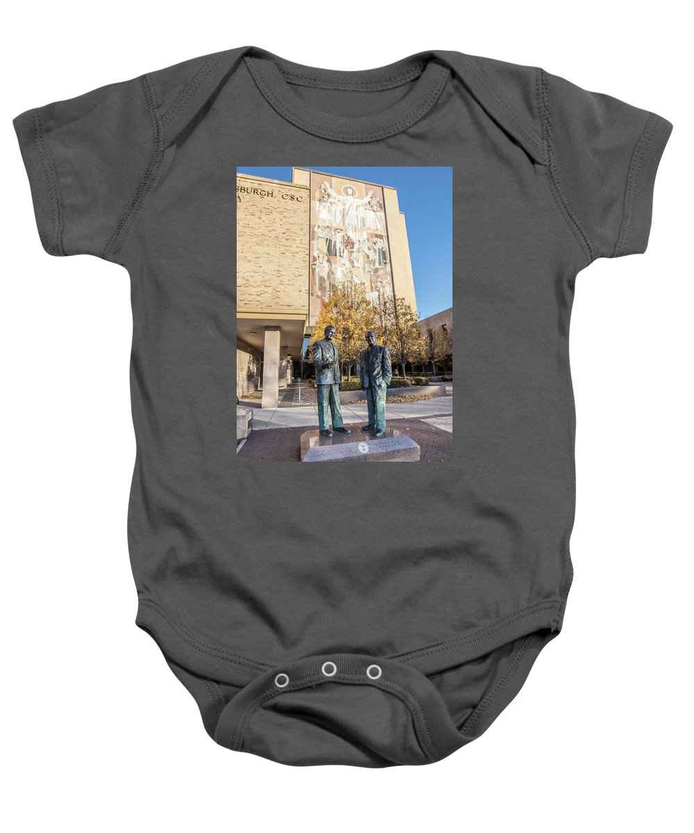 American University Baby Onesie featuring the photograph Notre Dame Library And Statue by John McGraw
