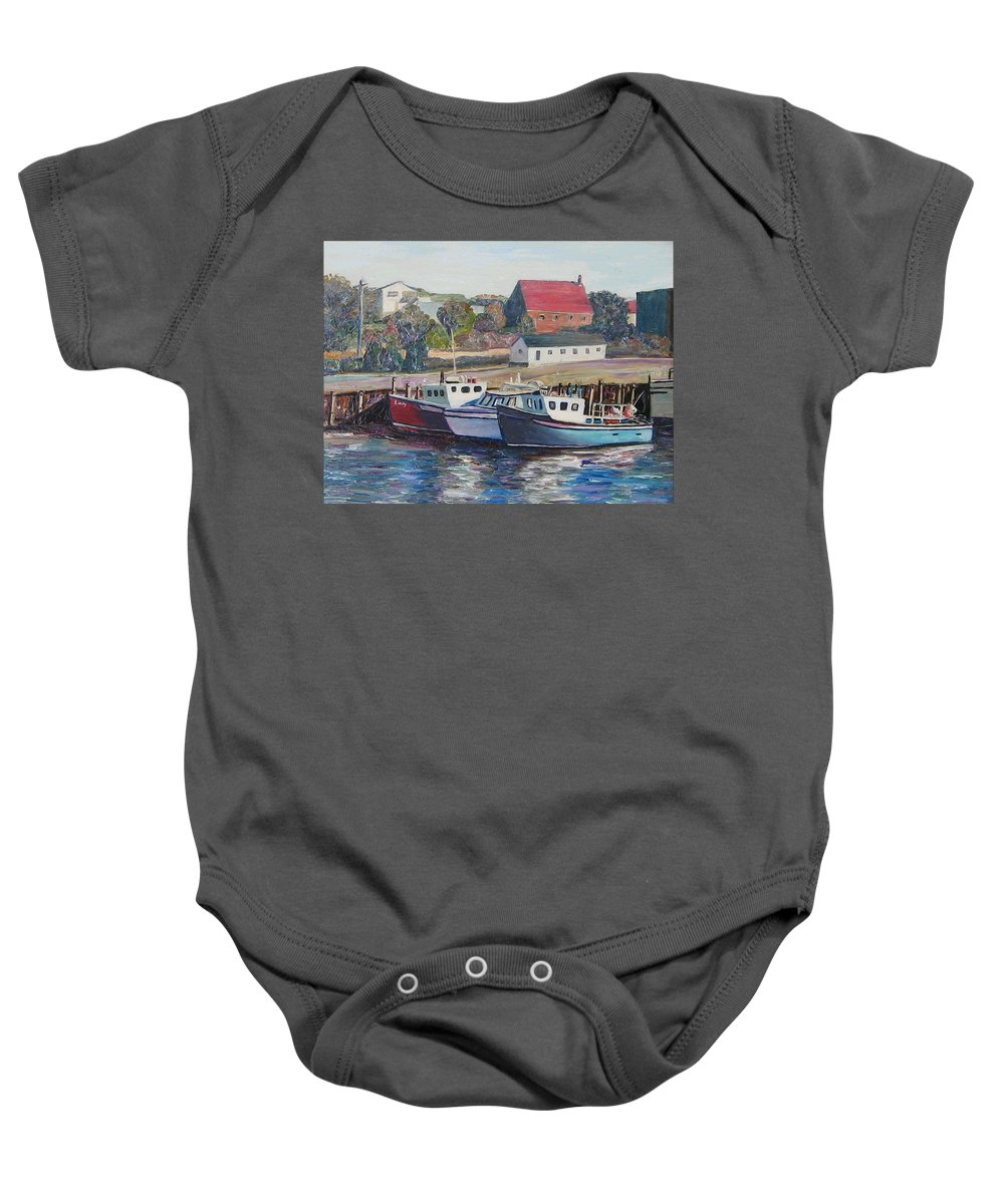 Nova Scotia Baby Onesie featuring the painting Nova Scotia Boats by Richard Nowak