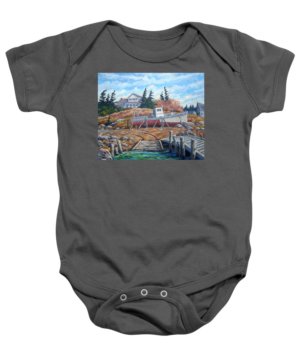 Boat Baby Onesie featuring the painting Novia Scotia by Richard T Pranke