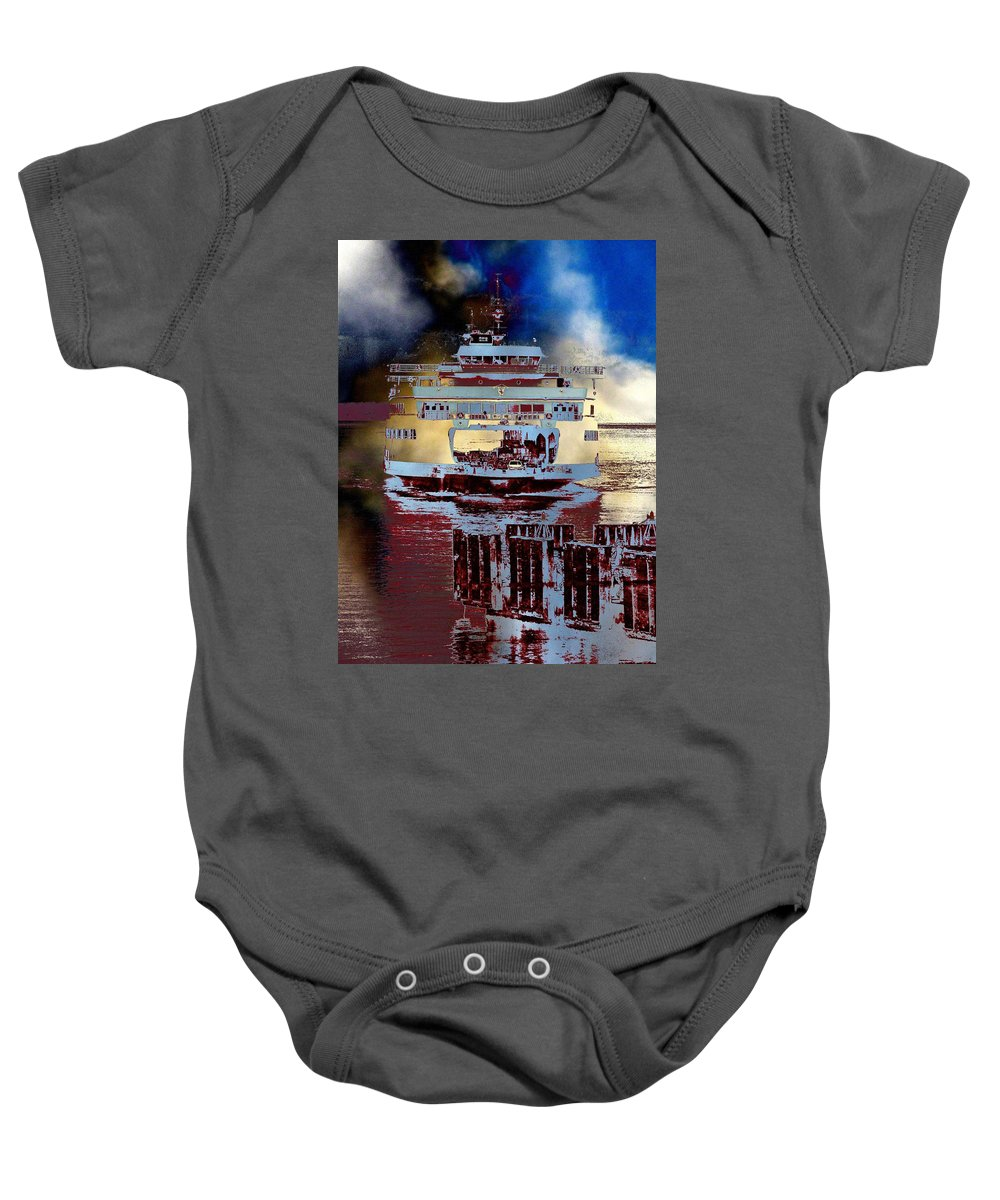 Seattle Baby Onesie featuring the photograph Now Arriving by Tim Allen