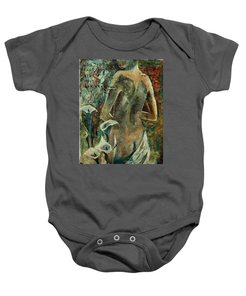 Girl Baby Onesie featuring the painting Nude And Arums by Pol Ledent
