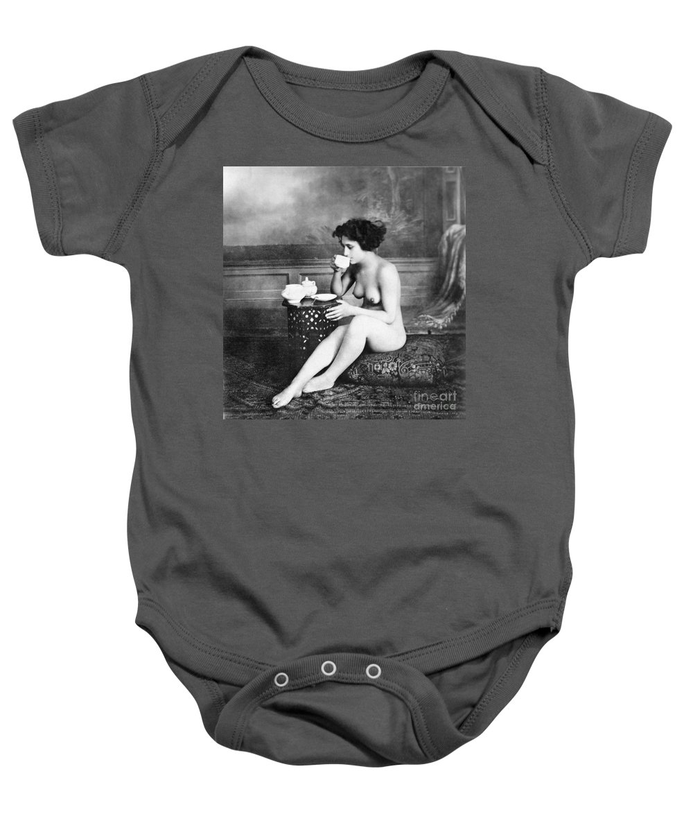 19th Century Baby Onesie featuring the painting Nude Drinking Tea, 19th Ct by Granger