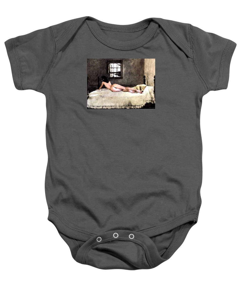Nude Baby Onesie featuring the digital art Nude In Bed by Marcus Lewis