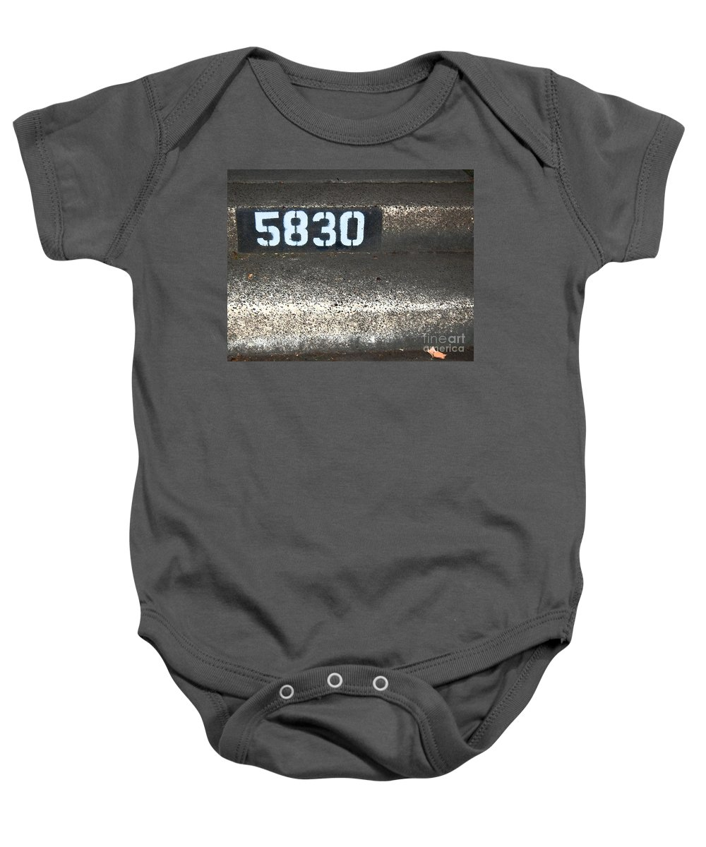 Numbers Baby Onesie featuring the photograph Numbers by Debbi Granruth