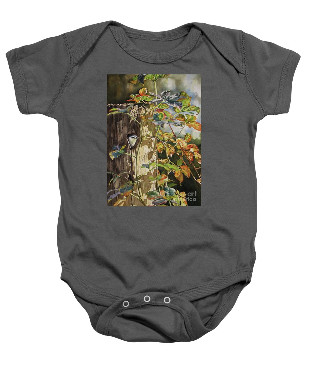 Nuthatch Baby Onesie featuring the painting Nuthatch And Creeper by Greg and Linda Halom
