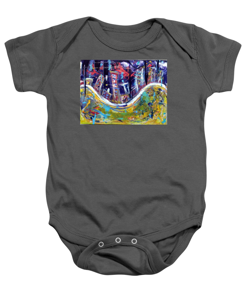 New York City Manhattan Hudson River Baby Onesie featuring the painting Nyc Impressions 4 by Jason Gluskin