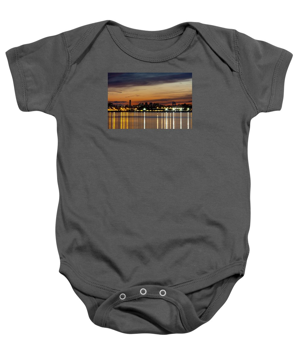 Night Baby Onesie featuring the photograph Nyc On A Still Night by Claudius Cazan