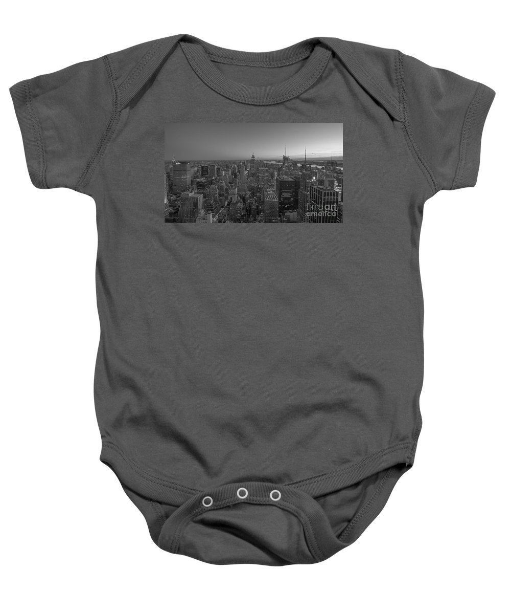 Nyc Sunset Baby Onesie featuring the photograph Nyc Sunset Bw by Michael Ver Sprill