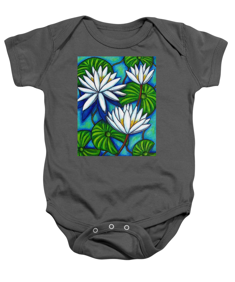 Lily Baby Onesie featuring the painting Nymphaea Blue by Lisa Lorenz