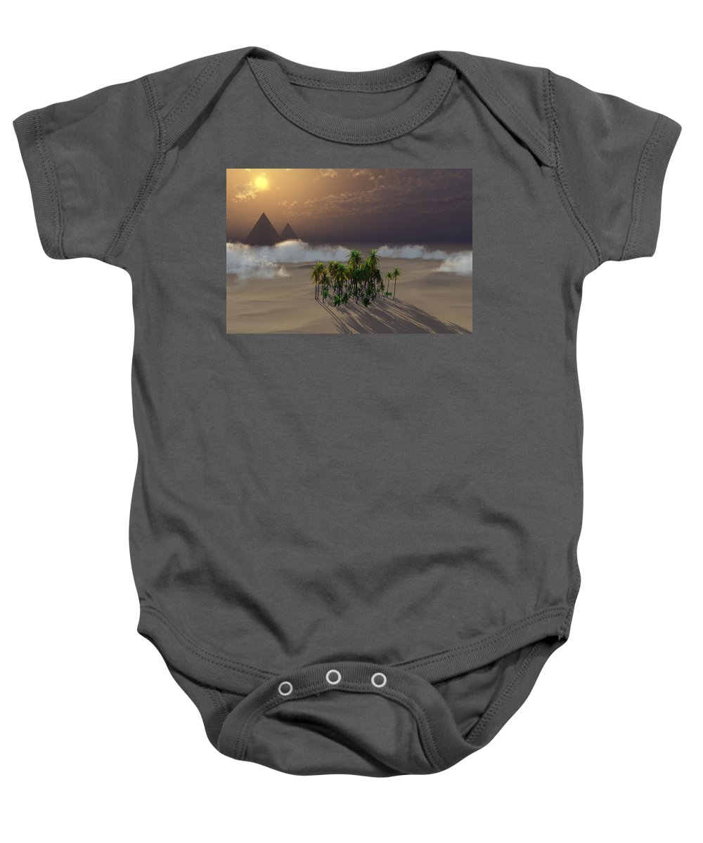 Deserts Baby Onesie featuring the digital art Oasis by Richard Rizzo