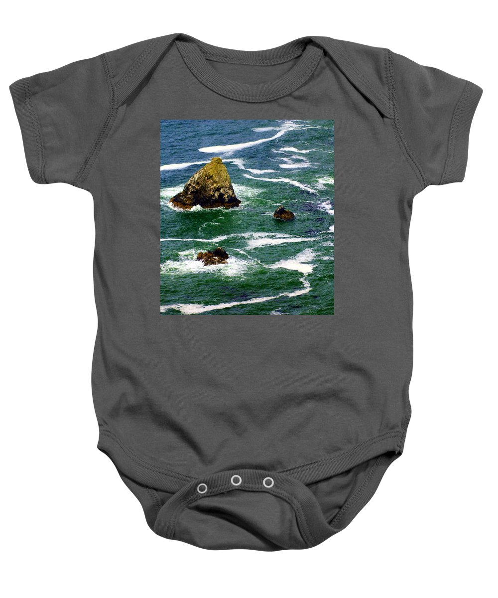 Ocean Baby Onesie featuring the photograph Ocean Rock by Marty Koch