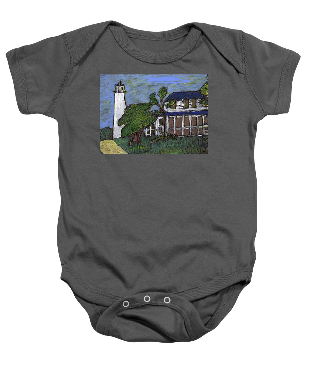 Light House Baby Onesie featuring the painting Ocracoke Island Light House by Wayne Potrafka