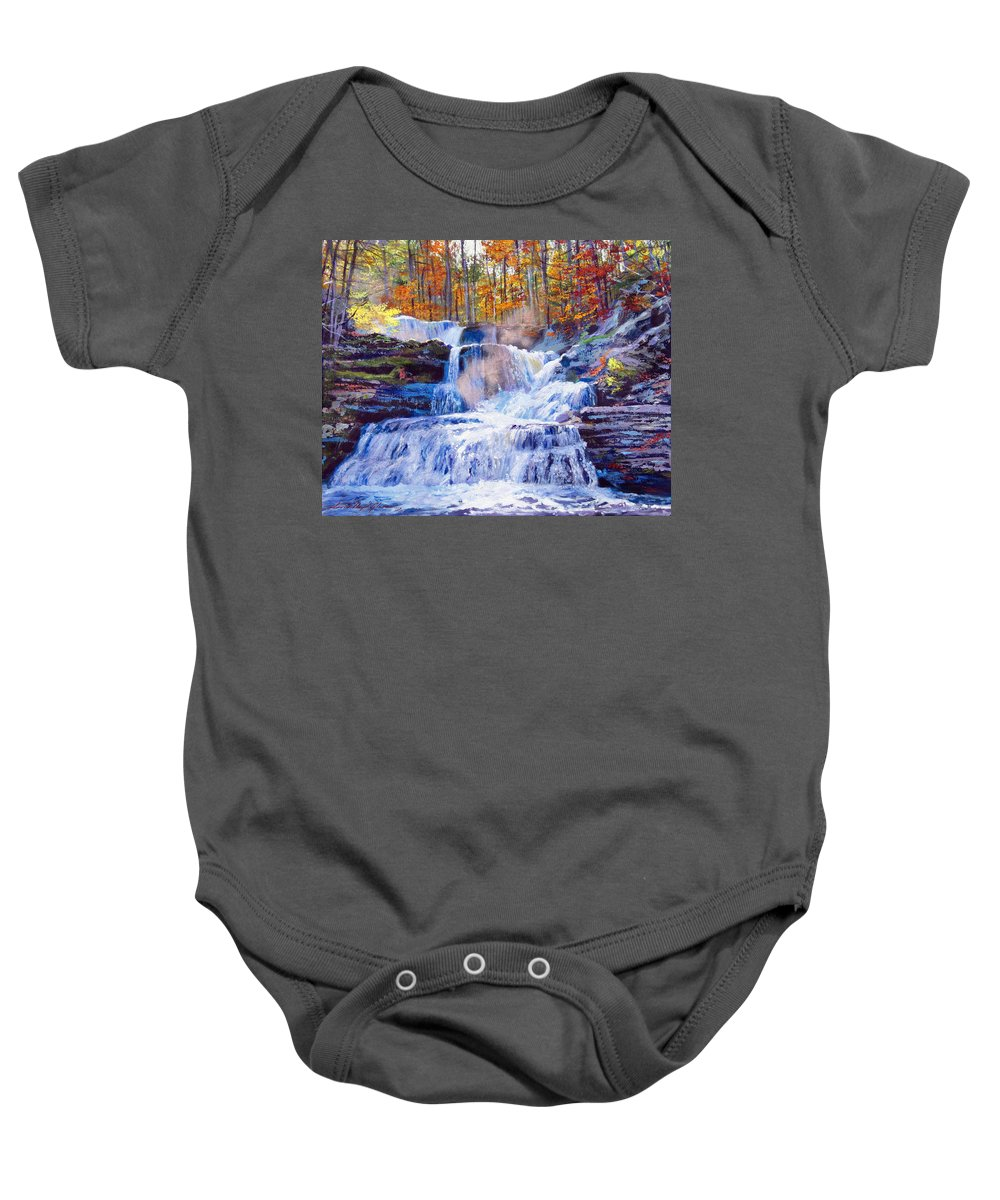 Impressionism Baby Onesie featuring the painting October Falls by David Lloyd Glover