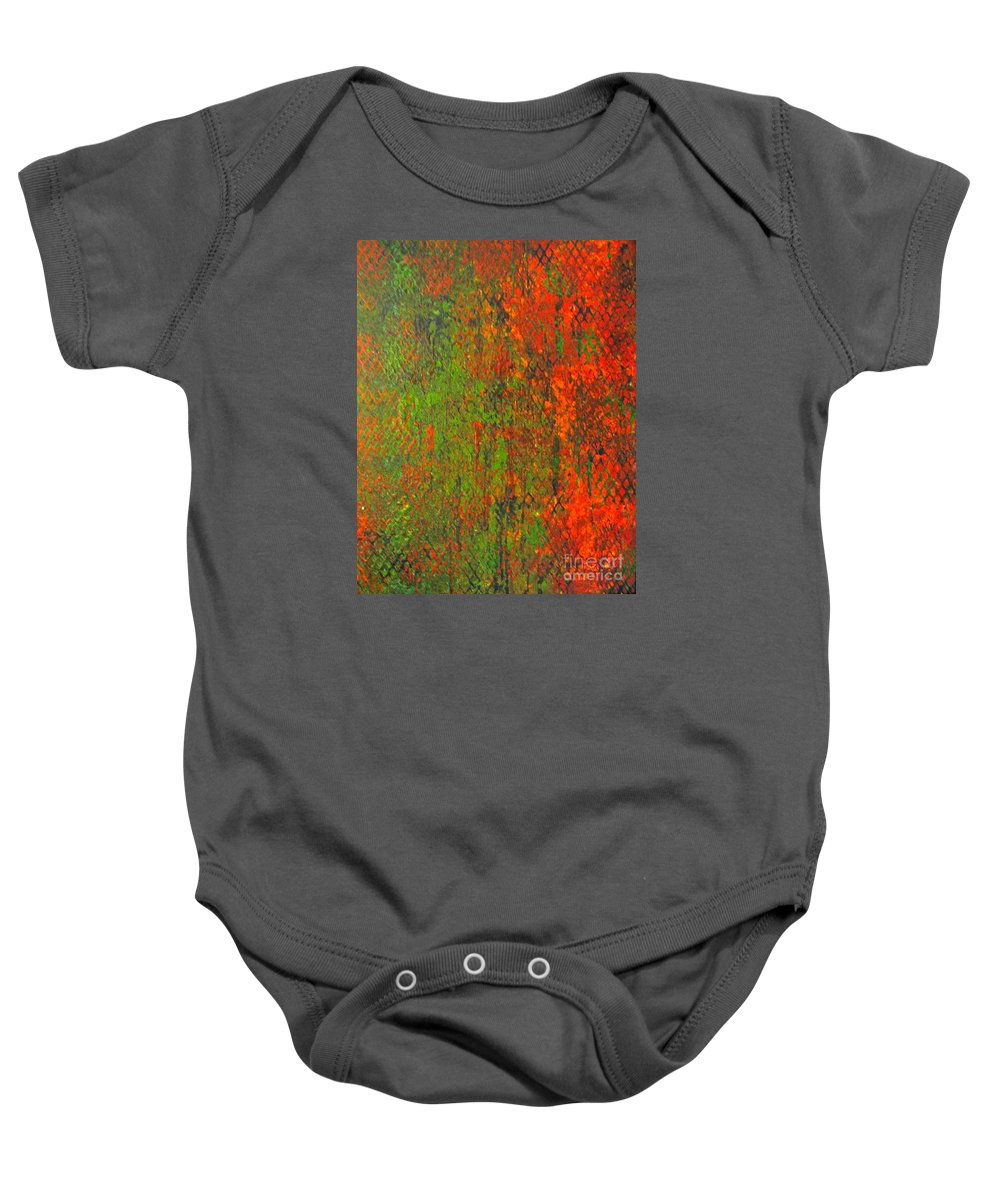 Heart Baby Onesie featuring the painting October Rust by Jacqueline Athmann