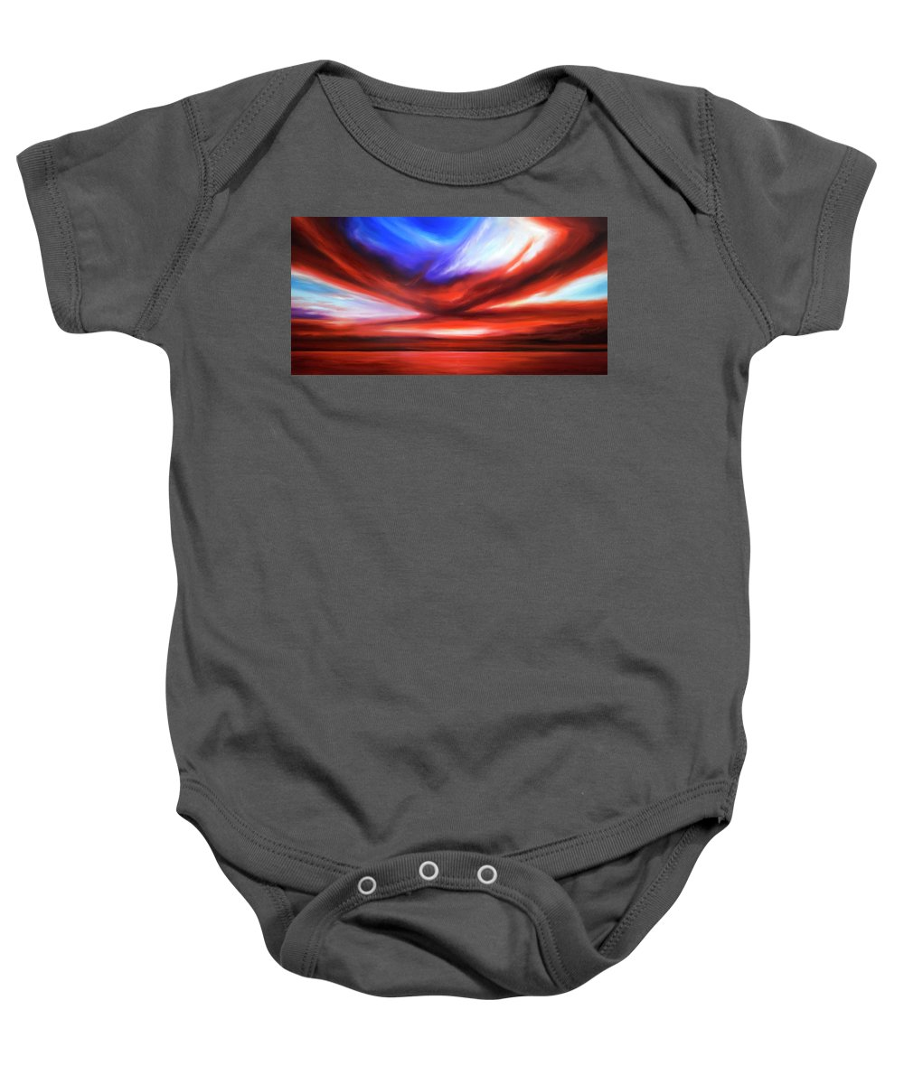 Sunrise; Sunset; Power; Glory; Cloudscape; Skyscape; Purple; Red; Blue; Stunning; Landscape; James C. Hill; James Christopher Hill; Jameshillgallery.com; Ocean; Lakes; Storm; Tornado; Lightning Baby Onesie featuring the painting October Sky V by James Christopher Hill