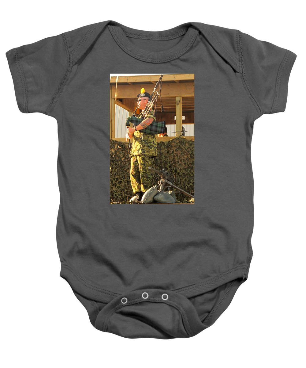 Machine Baby Onesie featuring the photograph Ode To A Machine Gun by Ian MacDonald