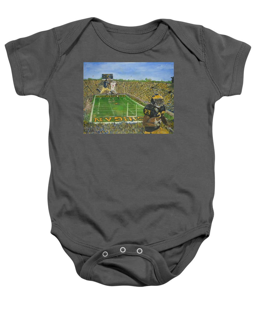 Michigan Baby Onesie featuring the painting Ohio State Vs. Michigan 100th Game by Travis Day