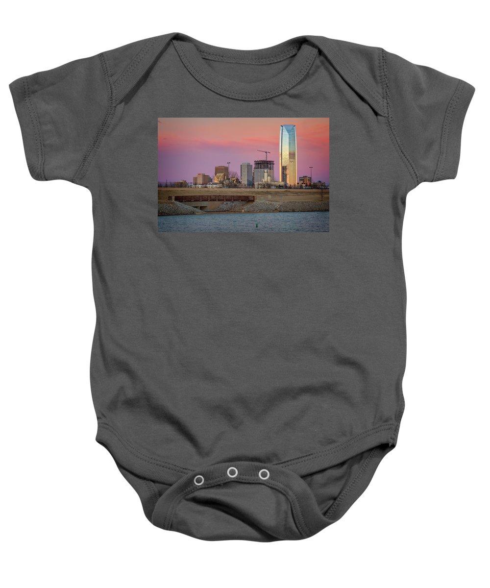 Okc Baby Onesie featuring the photograph Okc Sunset by Ricky Barnard