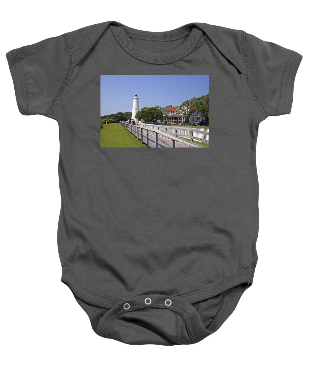 Lighthouse Baby Onesie featuring the photograph Okracoke Island Lighthouse by Mike Martin