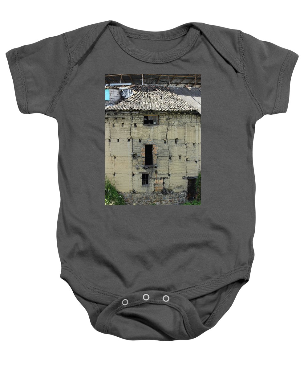 Building Baby Onesie featuring the photograph Old Adobe Building In Otavalo by Robert Hamm