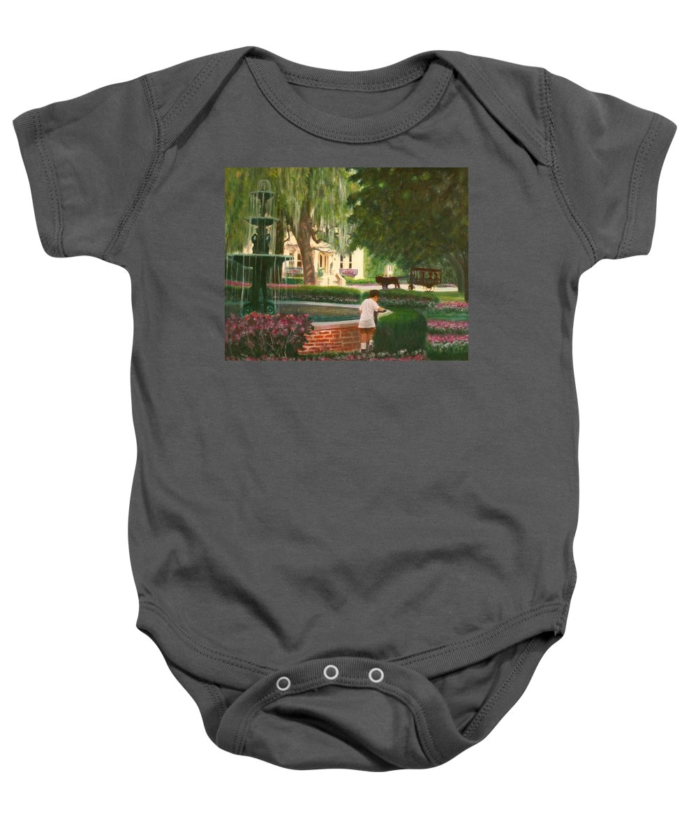Savannah; Fountain; Child; House Baby Onesie featuring the painting Old And Young Of Savannah by Ben Kiger