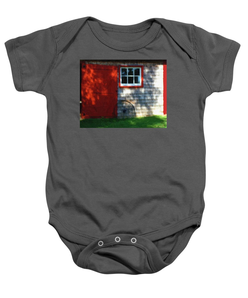 Autumn Baby Onesie featuring the painting Old Barn New Paint by RC DeWinter