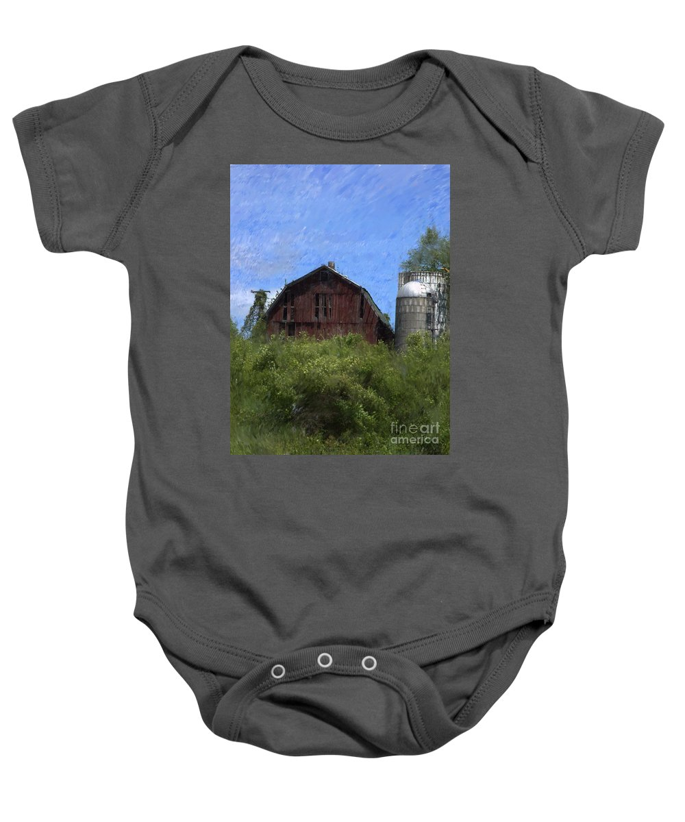 Old Barn Baby Onesie featuring the photograph Old Barn On Summer Hill by David Lane
