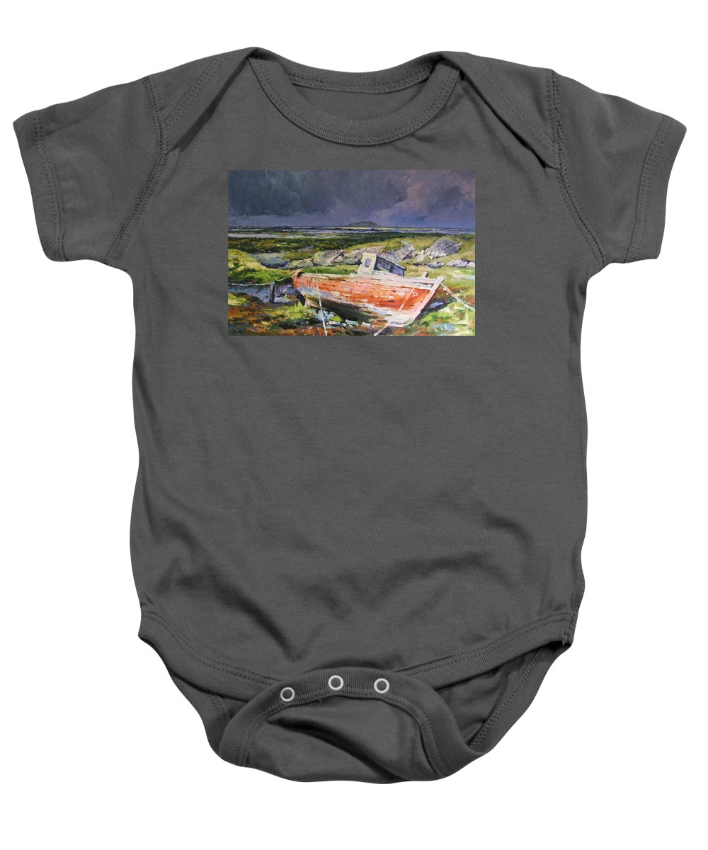 Rustic Boat Baby Onesie featuring the painting Old Boat On Shore by Conor McGuire