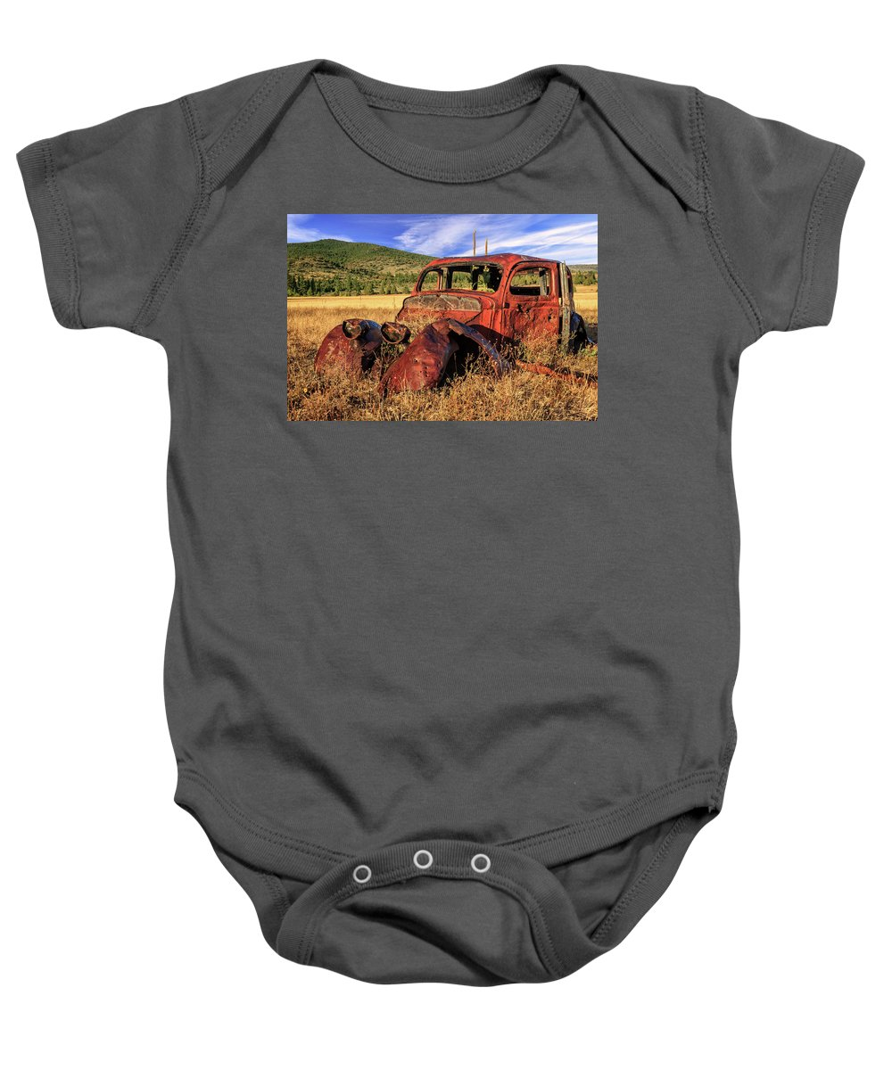 Rusty Baby Onesie featuring the photograph Old Car At Susanville Ranch by James Eddy