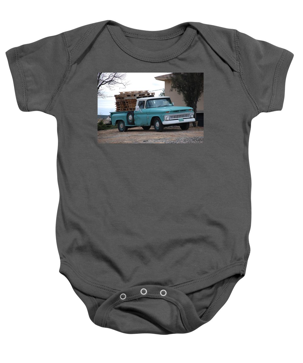 Old Truck Baby Onesie featuring the photograph Old Chevy by Rob Hans