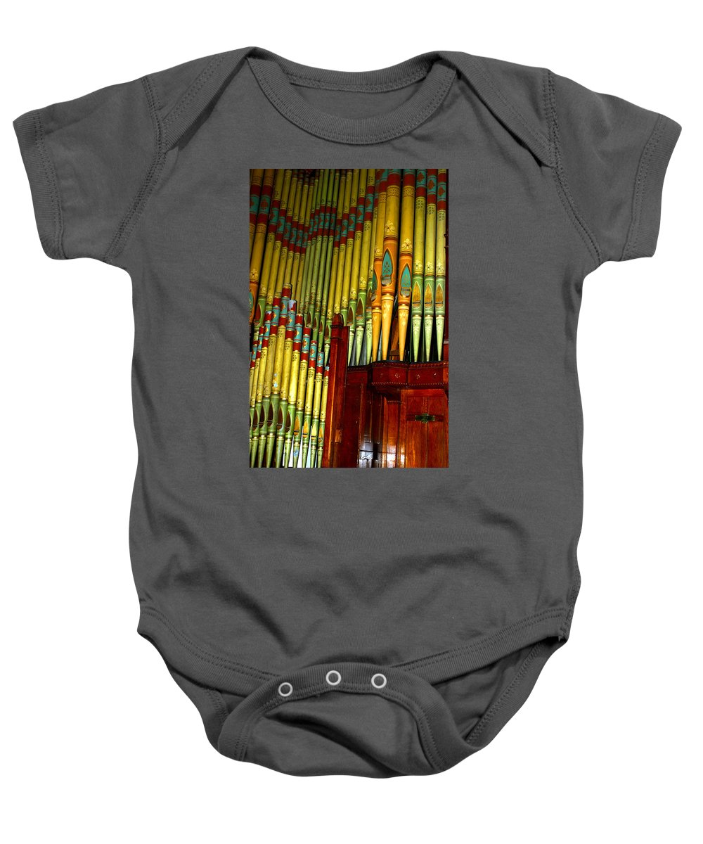 Organ Baby Onesie featuring the photograph Old Church Organ by Anthony Jones