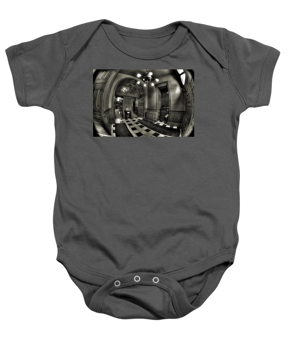 Bw Baby Onesie featuring the photograph Old Courthouse Entryway by Mike Oistad