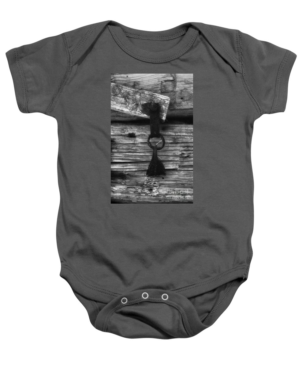 Doors Baby Onesie featuring the photograph Old Door Latch by Richard Rizzo