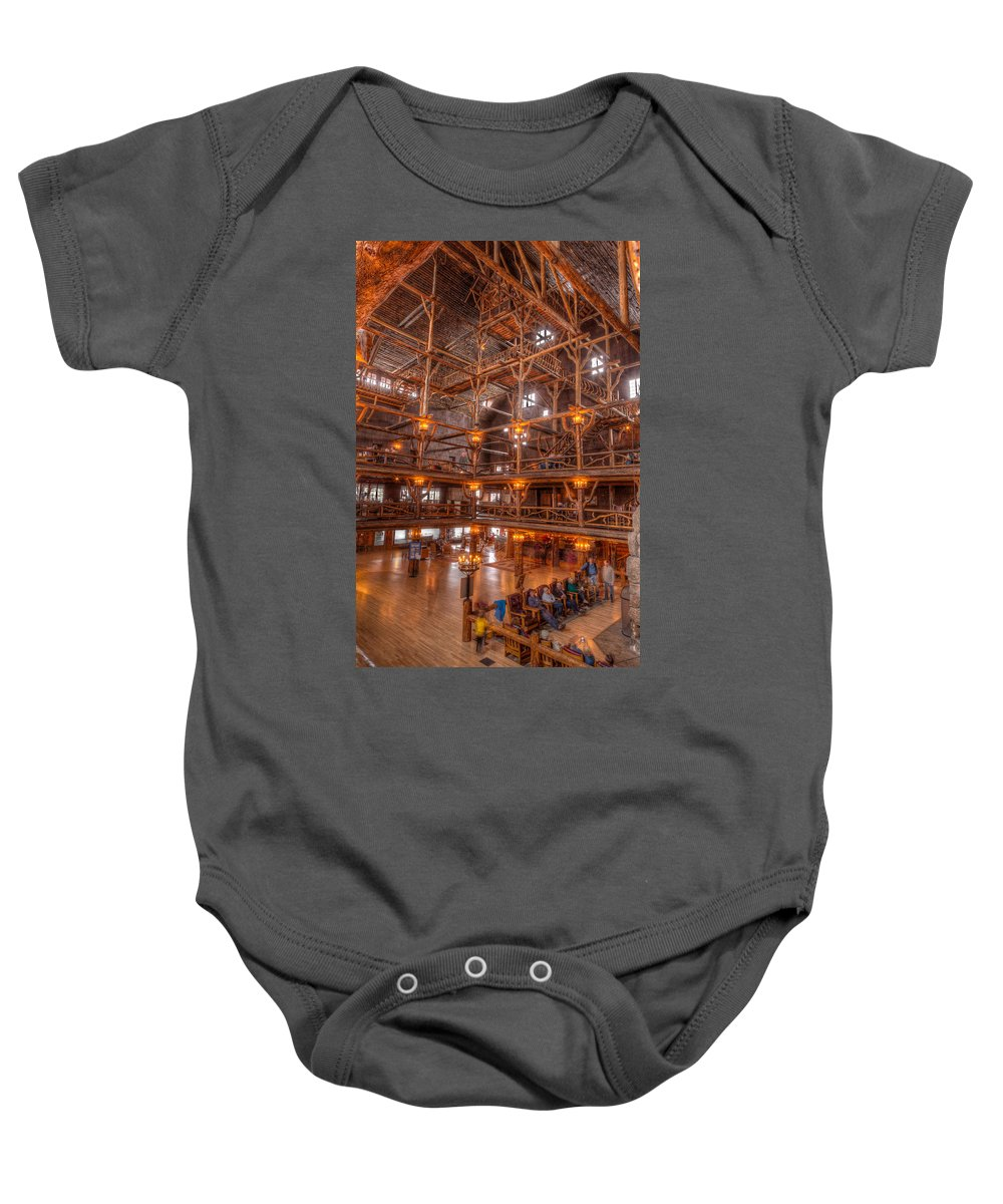 Yellowstone Baby Onesie featuring the photograph Old Faithful Lodge by Steve Gadomski