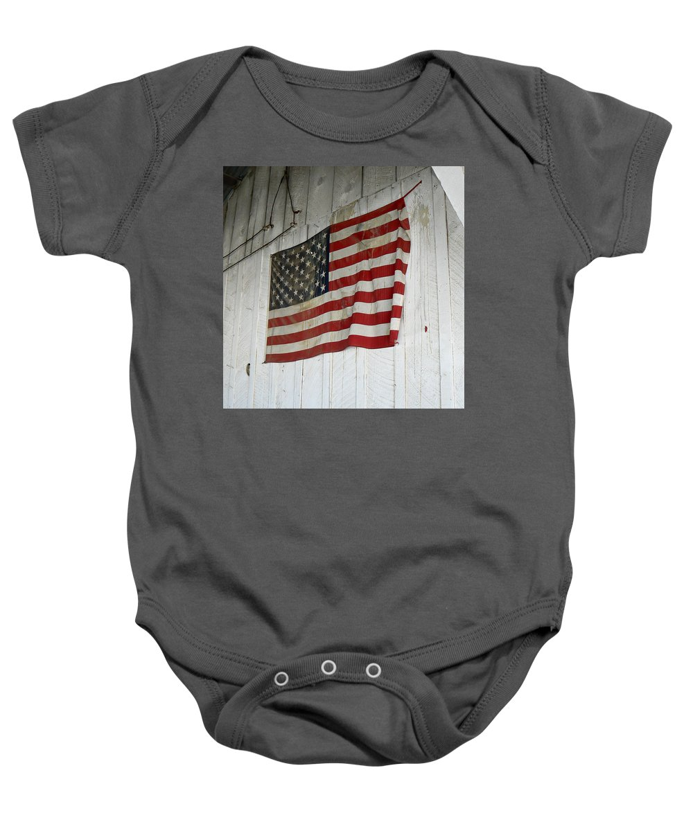 American Baby Onesie featuring the photograph Old Glory by Laurel Powell
