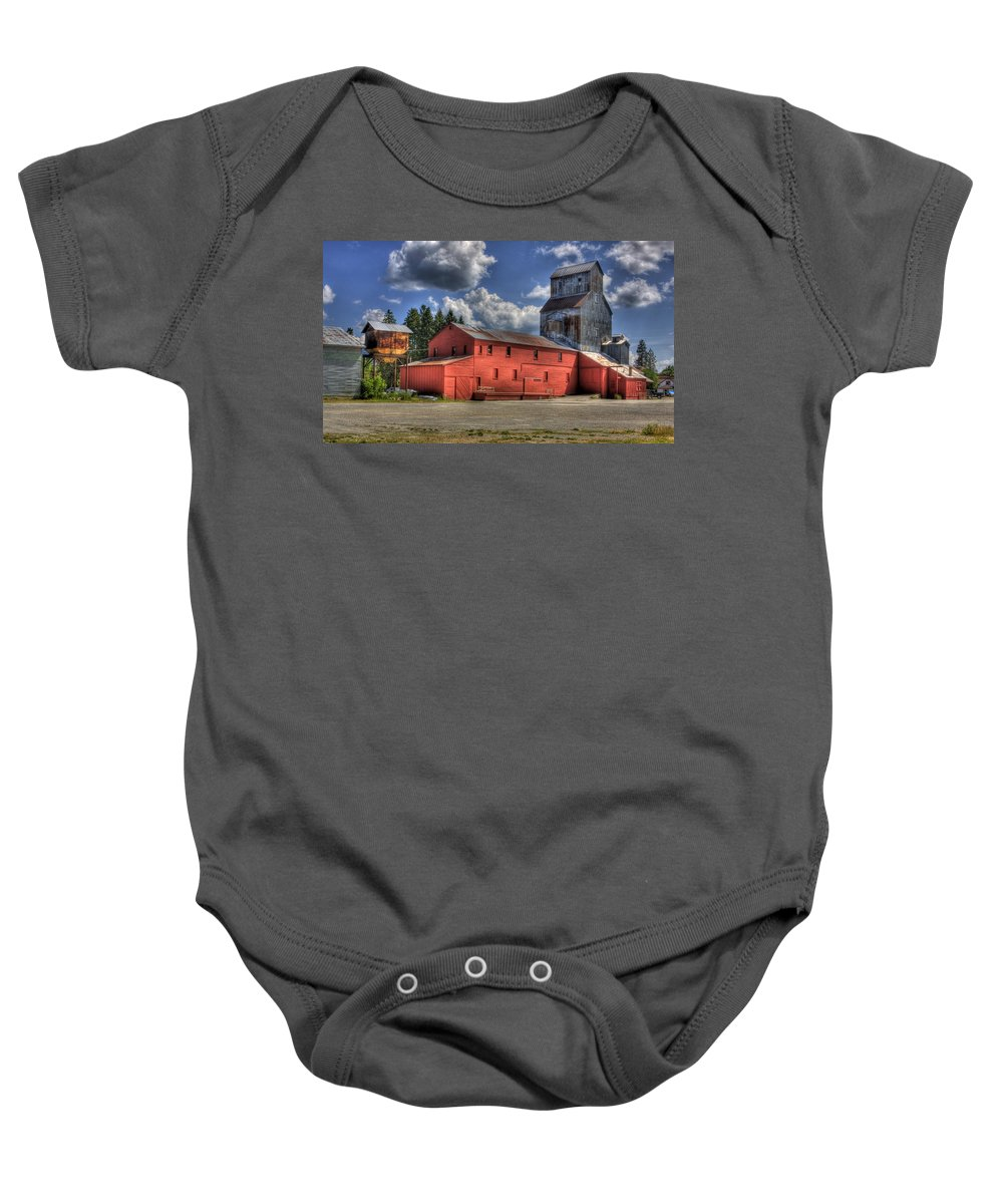 Industrial Landscape Baby Onesie featuring the photograph Old Grain Elevator Sandpoint by Lee Santa