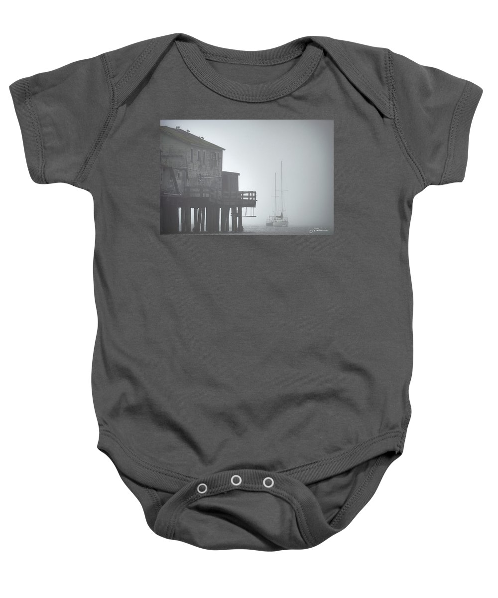 Boat Baby Onesie featuring the photograph Old House On The Pier by Jens Peermann
