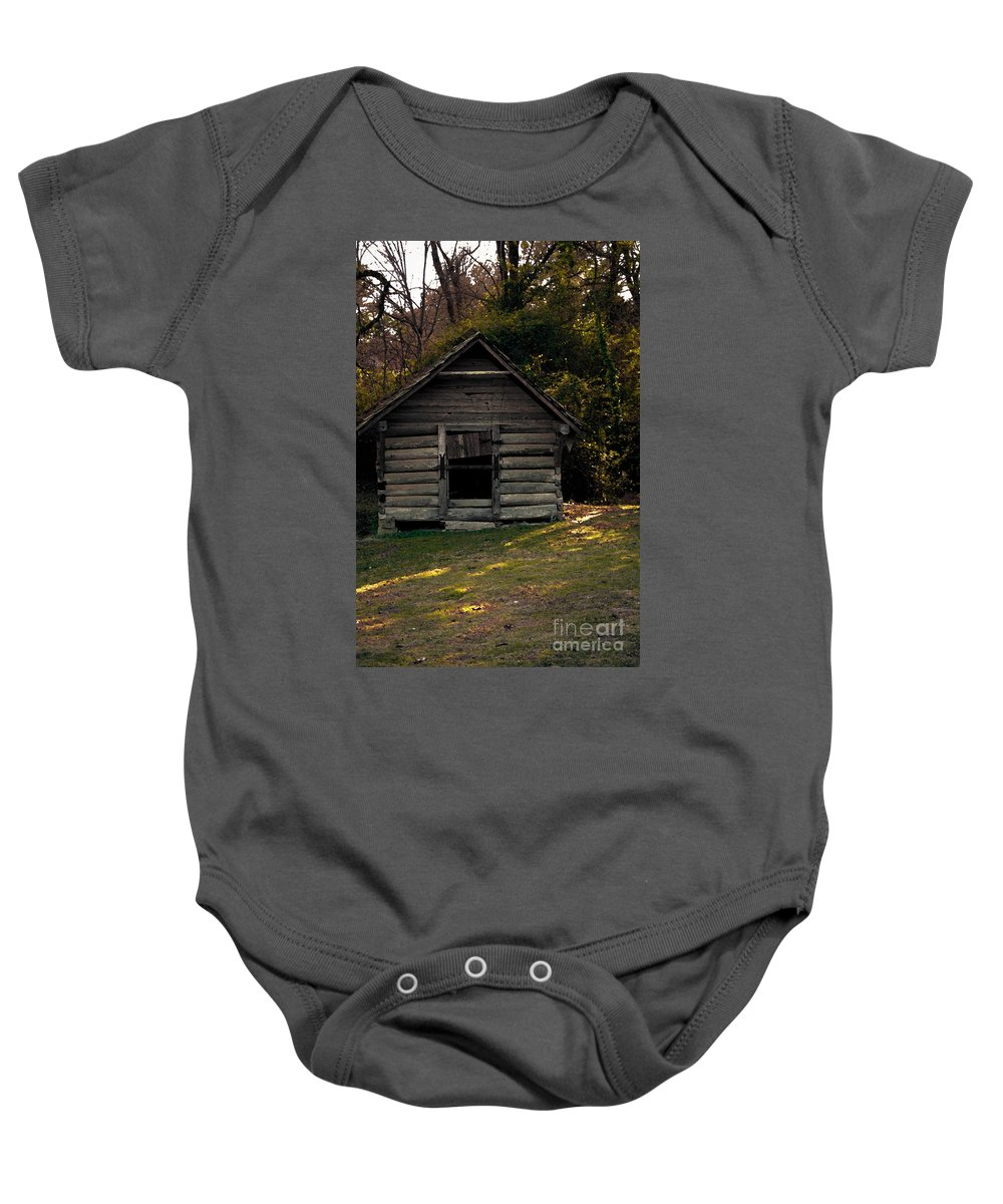 Log Cabin Baby Onesie featuring the photograph Old Log Cabin by Kim Henderson
