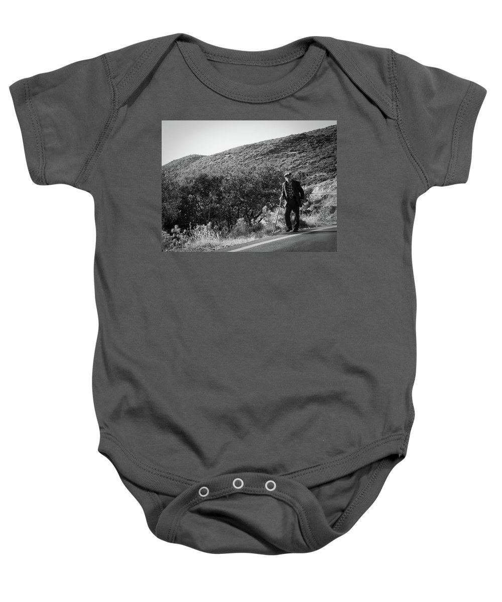 Old Man Baby Onesie featuring the photograph Old Man In Rural Greece by Al Poullis