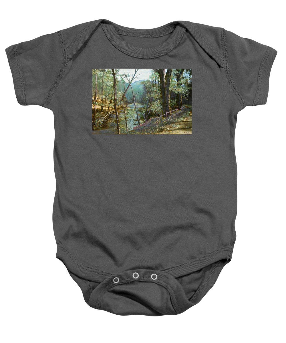 River; Trees; Landscape Baby Onesie featuring the painting Old Man River by Ben Kiger