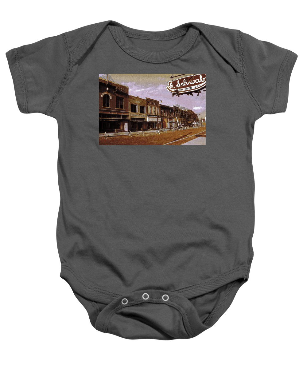 Memphis Baby Onesie featuring the photograph Old Memphis Beale Street by Peter Potter
